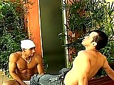 Muscular Latin stud seduces buddy