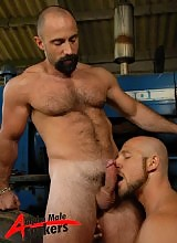 These two guys are so into each other, and they are rough in every sense of the word... eating each others holes with absolute passion and hard edged tongues, tattooed Aitor and his fierce looks are a perfect match for hairy supestar's Butch's hungry hole