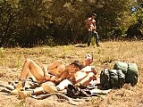 Three muscle gay hunks ass fucking in the fields