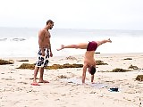 Yoga instructor butt fucking a jock by the pool