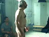 Male celebrity Lasse Myhr flashing cock in shower