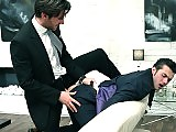 The gay boss drills his horny employee in clothes
