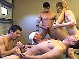 Five hot buddies have a work out in the gym