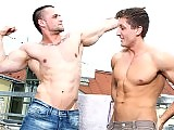 Muscle gay studs ass fucking in a public place