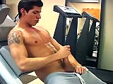 Hard work out in the gym and intense cock stroking