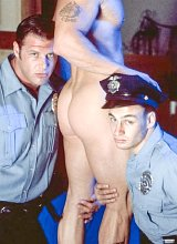 Three muscle big cock cops rimming and fucking fun