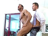 Muscle visitor fucks a hunky DJ at the studio
