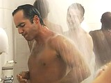 Alex Dimitriades naked in a shower