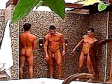 Three buff jocks showering together