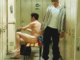 Sexy Bernard Blancan totally nude in a locker room