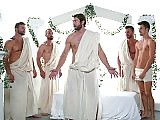 Older gay man Colby Keller in a group hard action