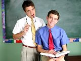 A teacher and his student talks in class and bangs