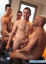 Stripped naked...Let the orgy begin!