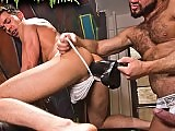 The man gets his ass abused by the dildo and cock
