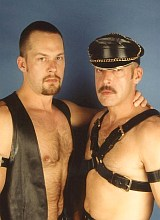 Hunks in leather sucking and pounding and shooting