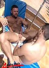 After not having much luck in the sand dunes of Gran Canaria, this hairy hunk heads back to the hotel and finds exactly what he�s looking for. Getting the taste for hardcore man on man action by