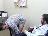 Boss fucks his big cocked employee in the office
