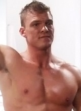 Male celebrity Alan Ritchson measures his big cock