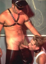 Two students get disciplined by a strict and horny leather headmaster