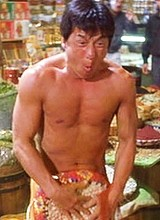Male celebrity Jackie Chan fighting totally naked