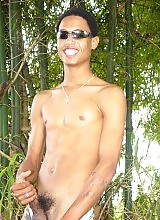 Cute and wild latin boy masturbate in nature