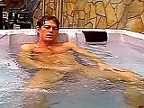 Hot college jock jacks off in hot tub