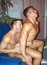 Two smooth big muscles blowing and riding pleasure
