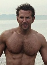 Male celebrity Bradley Cooper shirtless movie caps