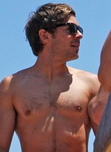 Male celebrity Zac Efron caught tanning shirtless