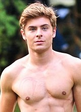 Male celebrity Zac Efron exposes his gorgeous body