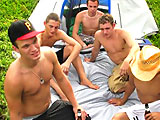 Five hot guys involving in a outdoor orgy