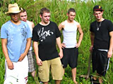 Five straight studs having hot outdoor orgy