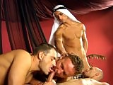 No one is left unsatisfied; these Arabian princes will make sure that every guy's cum load is somebody's delight. First, Alex and Rudolf are cuming on Nico. Steffi licks the loads while fucking.