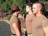 Muscle sergeant and his partner fucks a soldier