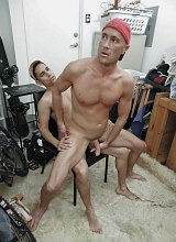 Smooth mature muscle riding huge cock in a laundry