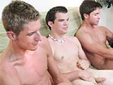 Three hot straight guys masturbating together