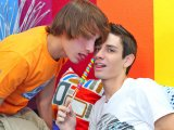 Lollipop twinks engaging into hot sucking of candy