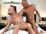 Muscle older gay stud drills his horny lover deep