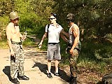 Military men forced to fuck a guy in the forest