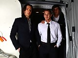 Three hunky pilots fuck inside of the airplane