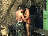 Ardent black men kissing and fucking in army camp
