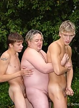 Experienced gay has two studs to fuck on School Boy Secrets