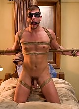 Hot Stud Frank Castle ties up and fucks Derrk Diamond in his dorm room.