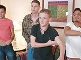 Three handsome twinks fucking each other in group