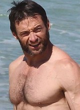 Male celebrity Hugh Jackman shows his muscle body
