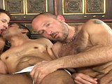 Three hairy chested dudes sucking and fucking kick