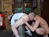 You lucky lot are the only ones privileged to see this grubby scene set in a dirty, piss stinking toilet in south London. Young urchin, Lewis Adams hovers around by the urinals looking for pissy cock to suck!