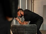 Muscle hairy stud fucks his boss at the wartehouse
