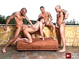 Toby Dutch rides raw cock in a bareback orgy