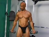 Strong mature man ass drilling black stud in gym
